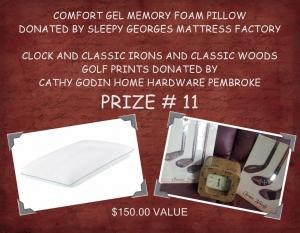 <b>Prize 11</b><br />Memory foam pillow & Golf print (value $150)