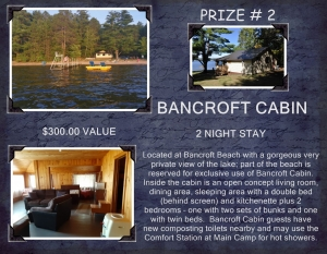 <b>Prize 2</b><br />Two night stay at Bancroft Cabin at beach (value $300)