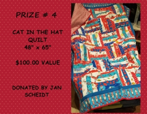 <b>Prize 4</b><br />Cat in the Hat Twin Bed Quilt (value $100)