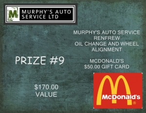 <b>Prize 9</b><br />Oil change & Wheel alignment plus $50 McDonalds gift certificate (value $170)